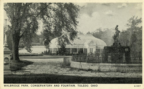 "Walbridge Park Conservatory and Fountain, Toledo, Ohio. Un-mailed postcard with a hand written note that reads ""Obitz fountain built in 1905."""