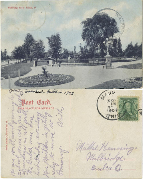 "Walbridge Park, Toledo, O. mailed postcard with a postmark of November 19, 1907. Note added later that says ""Obits fountain built in 1905"""