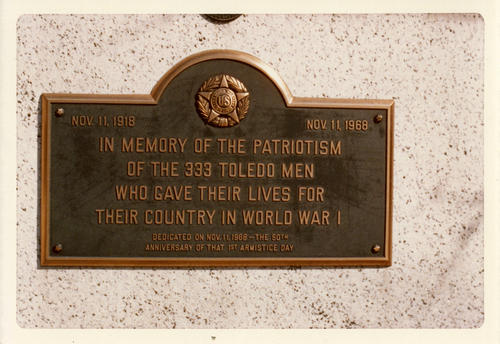 World War I memorial for the soldiers from Toledo. A photograph from the memorial for the 333 Toledoans who gave their lives in World War I
