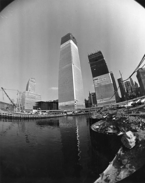 View of the World Trade Center construction site from the Hudson River