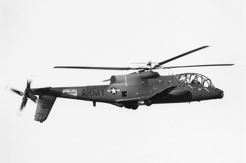 The U.S. Army AH-56A Cheyenne Helicopter by Lockheed, which could reach 250 mph and is the fastest gunship helicopter