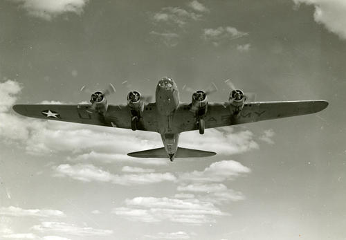 "The Boeing B-17 -- ""Flying Fortress"" with a re-designed singer turret that gave more protection for the end man."