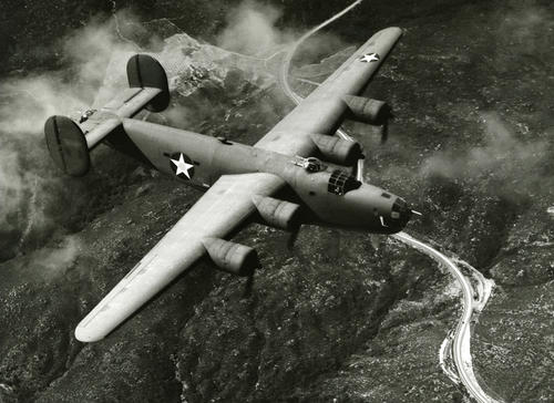 "Liberator consolidated Boeing B-24 with 2"" bullet resisting tail gunner and flat Bombardier window"