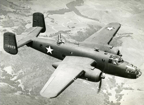 "Test flight of the Boeing B-25 Mitchell, sister ship of the ""Tokyo Raiders"" used in the Pacific, East Asia, Europe, Russia, and North Africa"