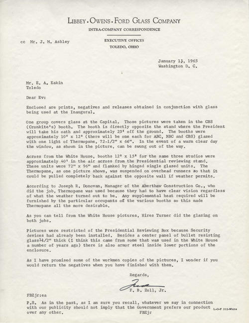 Letter detailing the use of LOF Thermopane glass in the Press Box at the presidential inauguration of Lyndon Johnson.