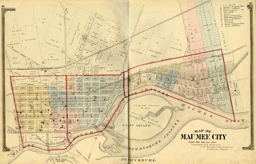 Map of Maumee City, compiled and drawn by S. W. Durant Civil Engineer., GPS Coordinates: 41.5652929, -83.697307