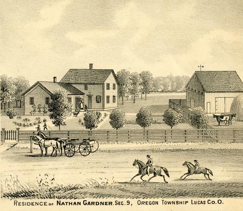 Residence of Nathan Gardner, Sec. 9, Oregon Township, Lucas Co. Ohio., GPS Coordinates: 41.6650796, -83.4736838