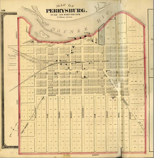 Map of Perrysburg, surveyed by P.A. Durant., GPS Coordinates: 41.5356324, -83.6786919