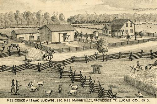 Residence of Isaac Ludwig, Sec. 5 and 6, Manor Tract, Providence TP., Lucas Co., Ohio., GPS Coordinates: 41.5059128, -83.8679854