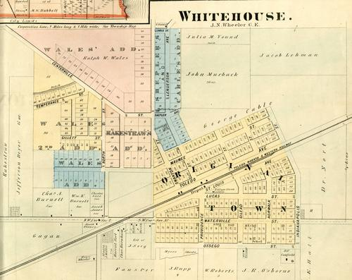 Whitehouse map, by J.N. Wheeler C. E., GPS Coordinates: 41.519103, -83.8057827