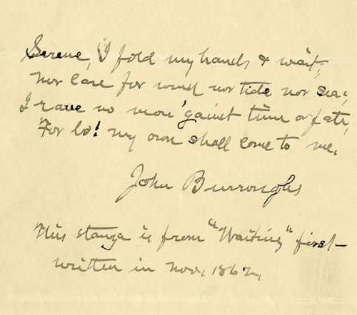 "Part of the poem ""Waiting"", written and signed by John Burroughs"