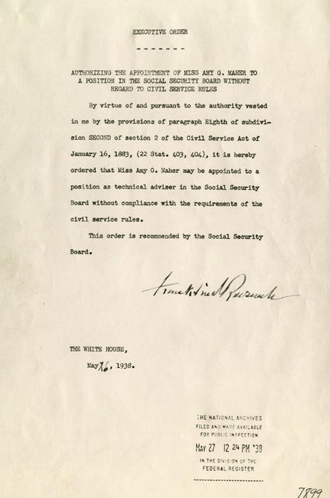 Roosevelt's Appointment of Amy Maher to Social Security Board