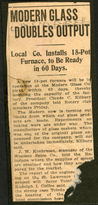 "Title: ""MODERN GLASS DOUBLES OUTPUT; local Co. Installs 18-Pot Furnace, to be Ready in 60 Days."" The news clipping is pasted against the verso of the front cover and may be referring to the furnace pictured on one of the photographs in this collections."