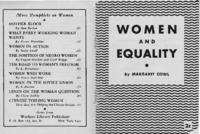 Women and Equality, by Margaret Cowl
