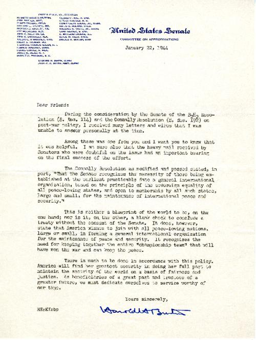 A letter from Senator Harold H. Burton to Olive Colton about the Connally Resolution (S. Res. 192)