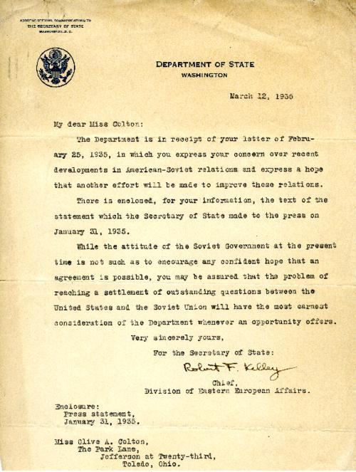 A letter from Robert Kelley, Chief of Eastern European Affairs, Department of State, regarding the attitude of the Soviets and American-Soviet relations
