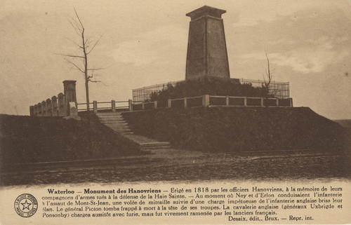 "Postcard titled ""Monument des Hanovriens"" at Waterloo, Belgium"