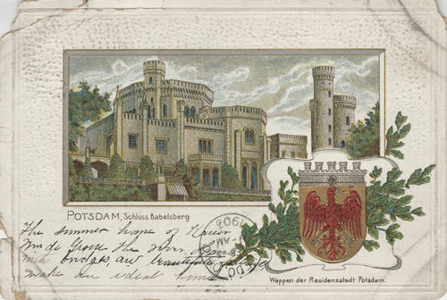 "Postcard titled ""Schloss Babelsberg,"" Potsdam, Germany"