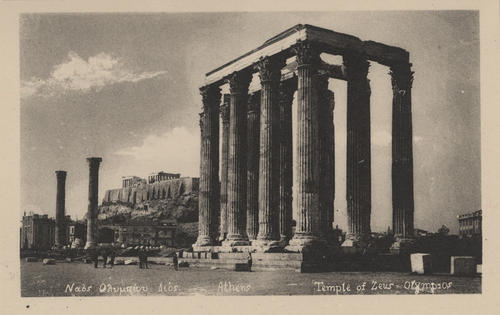 Postcard showing the Temple of Zeus in Athens, Greece
