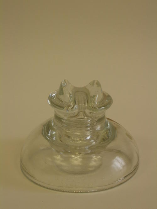 Glass insulator.  Kimble Tempered 830  Made in the U.S.A. 3-56