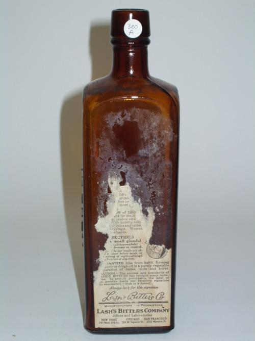 Lash's, The Original Tonic Laxative Bitters, Lash's Bitters Co., Illinois Glass Co.  Made by Illinois Glass Co. on Owens Machine, 2 copies labeled A and B.