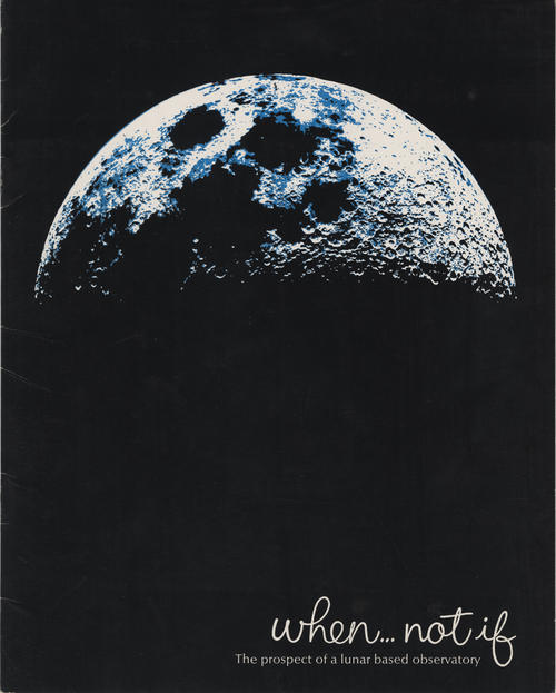 Booklet proposing that when a lunar observatory is created, it should be made with O-I product Cer-Vit to withstand the drastic temperature changes on the moon.