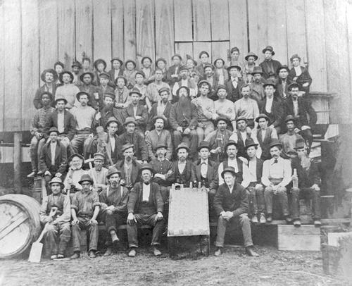 The photo shows employees of the original Illinois Glass Co. Plant in 1873.  The list is enclosed with the photo and several copies