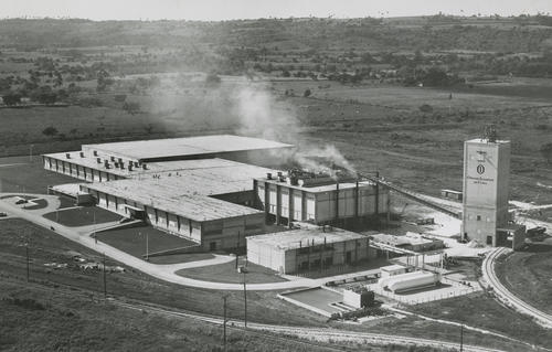 Aerial photograph of Owens-Illinois plant in Cuba, ca. 1950s. While many of the company's overseas ventures were successful, the Cuban operations were lost during the Castro revolution in 1959.