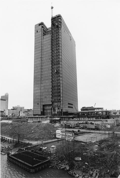 A view of the Owens-Illinois building during a later stage as viewed from the Cherry Street bridge.