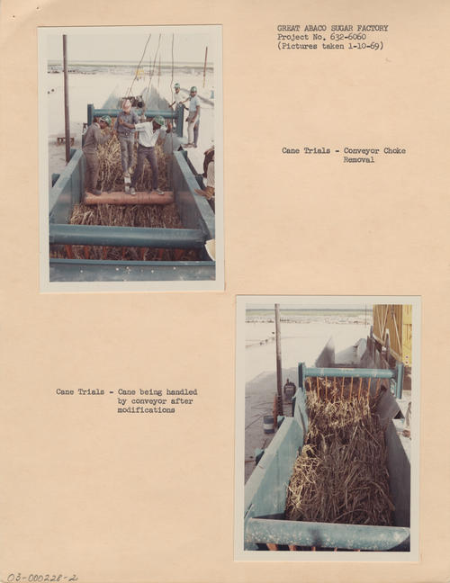 Photographs of the sugar cane operations on Great Abaco Island, Bahamas, 1969. The efforts of O-I to replace its timber operation with a sugar cane factory in the Bahamas was largely unsuccessful, and ultimately cost the company $22 million.