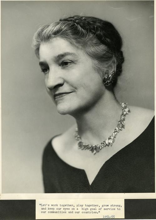 Photograph of Bertha Lucky, the President of Quota International in 1954-1955.