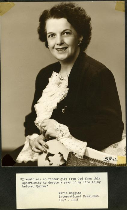 Photograph of Marie Higgins, the international president of Quota Club in 1947-1948.