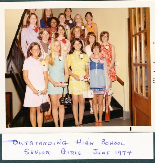 Photograph of the outstanding high school seniors in 1974.