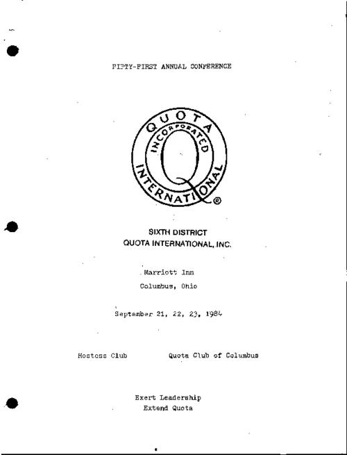 "This report includes the table of context and the address from the international president entitled ""Portrait of an International President"".  In 1984 Dorothy Patterson Sayre was the president of the Quota Club International."