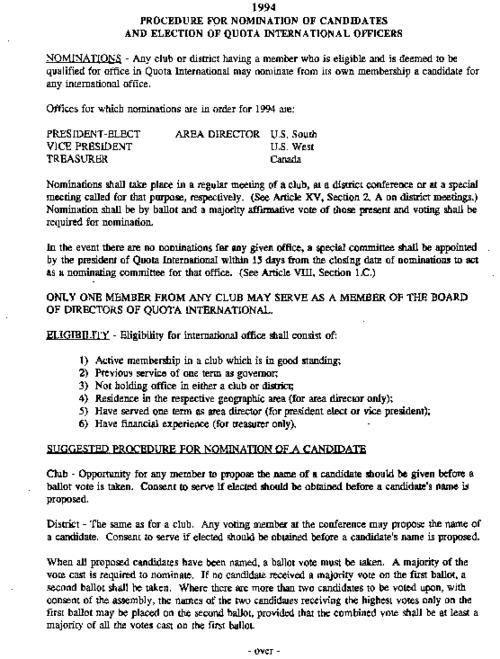 Description of the procedures for nomination of regional officers for Quota International. In 1994 three positions were available: President-elect US South, Vice President US West, and Treasurer Canada.
