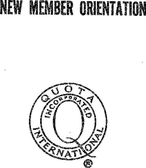 This document helps to orient new members to the history, goals, and general infrastructure of Quota International.