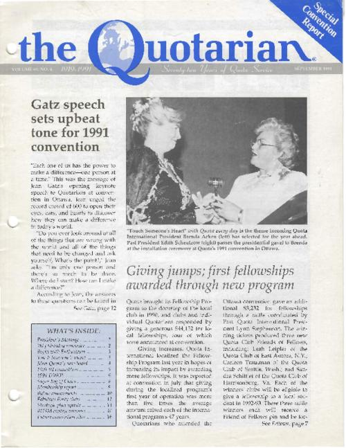The first page of 12 editions of the Quotarian issues between 1991 and 1994.