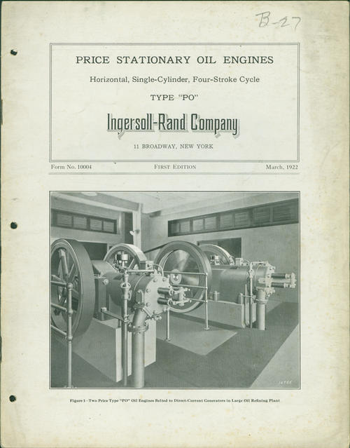 First edition of the catalog of horizontal, single-cycled, four-stroke cycle engines made for Ingersoll-Rand Company  (catalog cover)