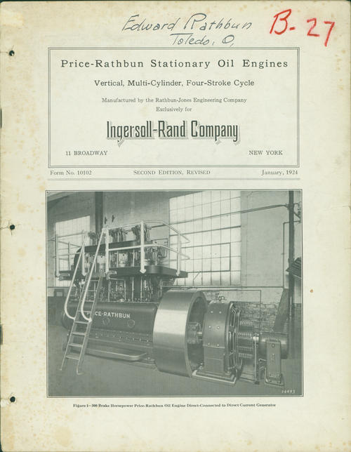 Second edition of the catalog featuring vertical, multi-cylinder, four-stroke cycle engines made for the Ingersoll Rand Company