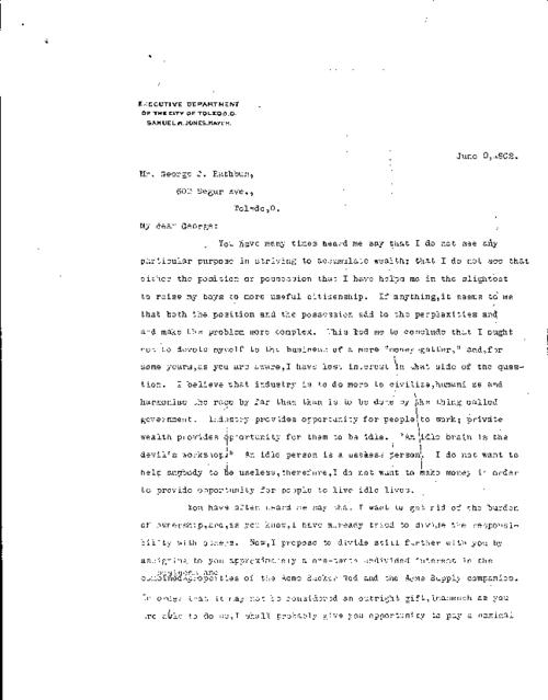 In this letter, Jones informs his partner, George Rathbun, his intention to sell interest in his company, Acme Sucker Rod and Acme supply companies to Rathbun.