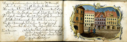 18th-century German autograph book from Nuremberg with German and French verses and color and ink illustrations., ger