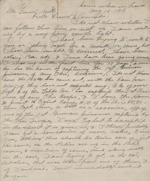 "In this letter, written ""some where in France,"" a soldier writes to his fellow Toledo U.S.W.V. members describing the fighting as well as the sights in that country."