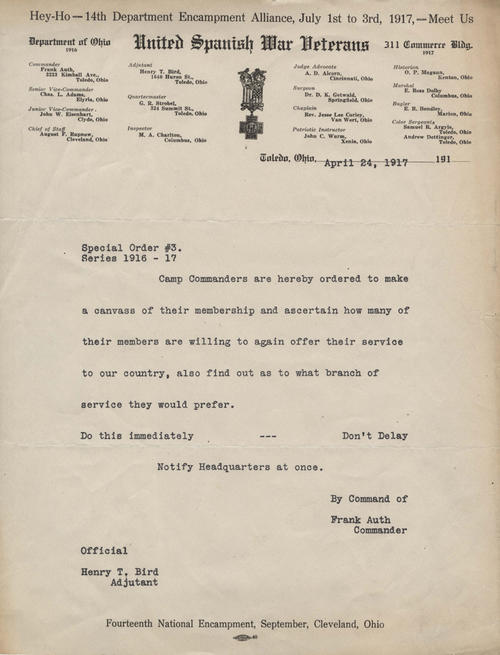 Letter from Commander Frank Auth to Camp Commanders requesting that they inquire about which members are willing to serve their country again in World War I.