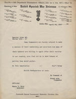 Correspondence, Commander Frank Auth to Camp Commanders, 1917