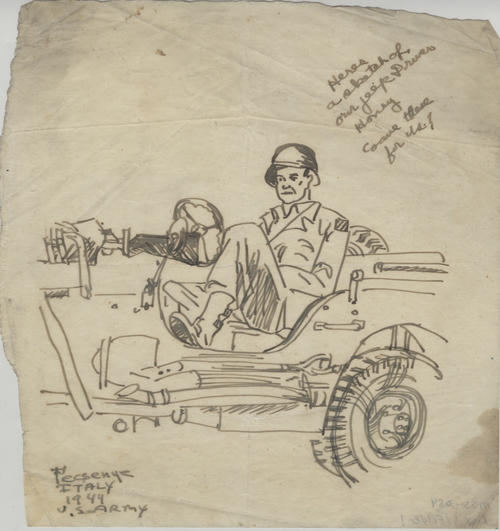Sketch of an Army soldier in a Jeep drawn by Steven Pecsenye in Italy in 1944.