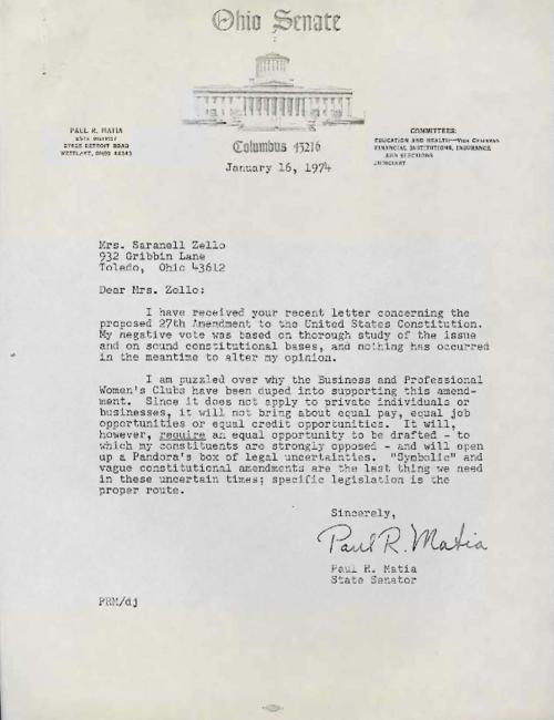 Letter from Ohio senator Paul Matia explaining his opposition to the Equal Rights Amendment