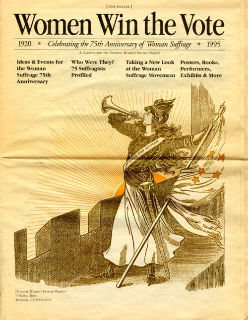 Cover of newspaper commemorating the 75th anniversary of the passing of the 19th amendment