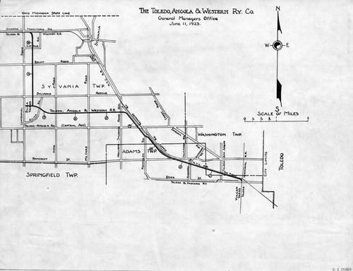The map of the original Toledo-Angola Western Railway with its original 8.5 mile stretch between the Silica Quarry and the Toledo Terminal Rail Road