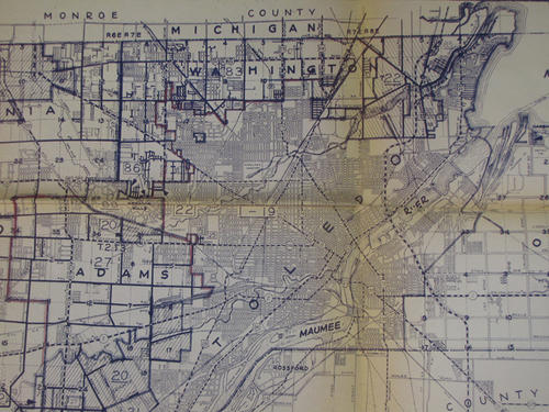 Lucas County School Taxing District map with the boundary lines as of December 31, 1961 (revision date)