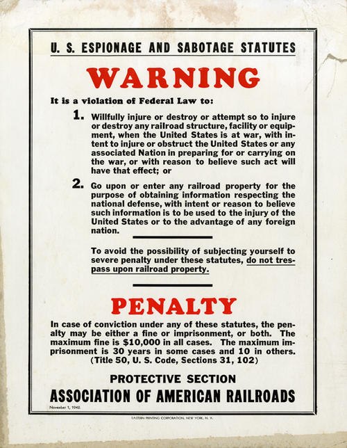 The poster was used to warn against espionage and sabotage during World War II.  Issued by the Association of American Railroads Protective Section